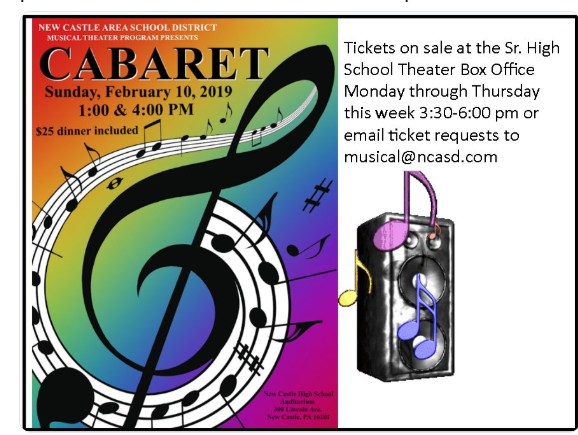 NEW CASTLE AREA SCHOOL DISTRICT MUSICAL THEATER PROGRAM PRESENTS CABARET
