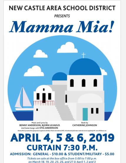 Mama Mia PERFORMANCES APRIL 4th, 5th, 6th CURTAIN 7:30 PM