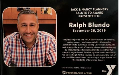 Congratulations Coach Blundo!!!! Jack and Nancy Flannery Salute Award Presented September 26, 2019
