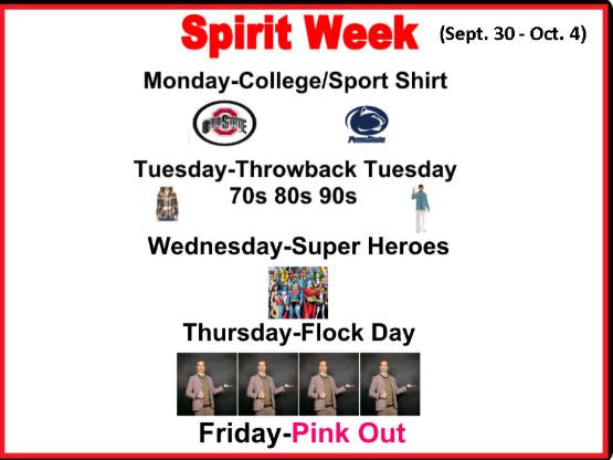 SPIRIT WEEK will take place Sept. 30 - Oct. 4 at New Castle Senior High School