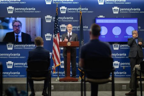 Governor Wolf at a press conference in mid-July on COVID-19 mitigation efforts.